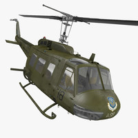 Military Utility Helicopter Bell UH-1 Iroquois Rigged