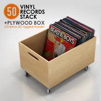 50 Vinyl Records Stack & Plywood Box (rigged)