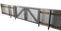 Metal sheet fence with gates