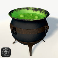Witches cauldron low poly