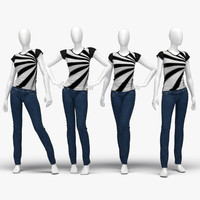 3d model set female jeans