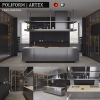 3d model kitchen poliform varenna artex