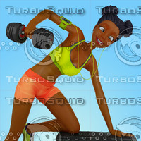 Urban Girl Working Out Stock Illustration