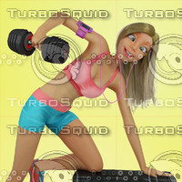 Urban Girl Working Out 2 Stock Illustration
