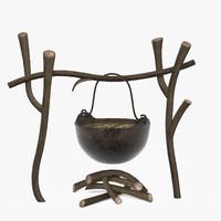 Campfire and Iron Pot