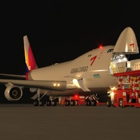 B 747-400F Asiana Cargo Loading Operation Scene