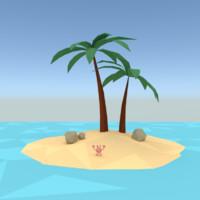 Low poly palm island