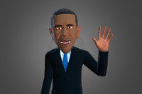 Obama caricature low poly