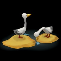 Swans Cartoon Low-Poly