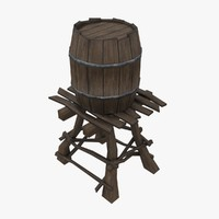 Wooden water tower low-poly 3d model