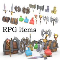 low-poly RPG item collection