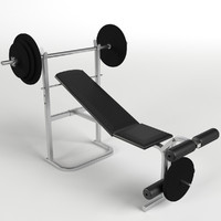 bench weight plates gym 3d model