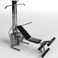 pectoral leg bench gym 3d max