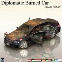 Diplomatic Burned Car