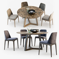 Poliform Grace chair Concorde table set02