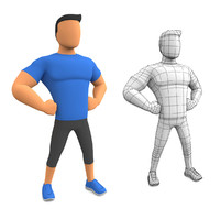 3d cartoon fitness man