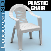 white plastic chair 3d model