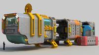 space cargo ship 3d model