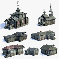 Russian Village Buildings LOD Set