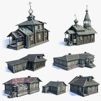 Russian Village Buildings Set