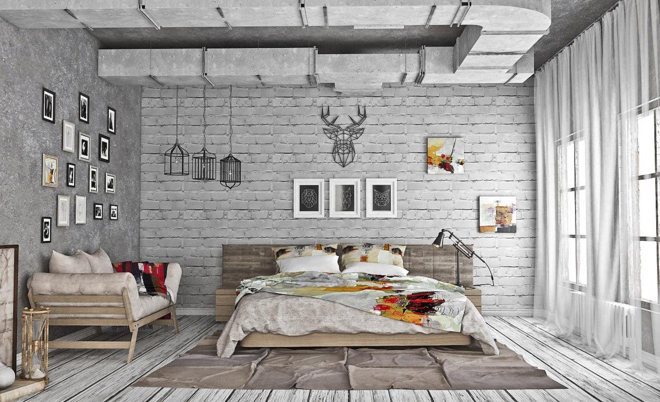 3d model bedroom loft. Black Bedroom Furniture Sets. Home Design Ideas