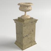 3d model vase pedestal uv unwrapped