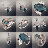 COLLECTION FLOWERS - 6 JEWELLERY 3D