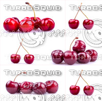 Ripe cherry in closeup set