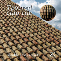 Tapered clay tile or spanish roof tile texture set 3D model