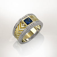 Mens ring with square gemstone 013