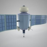 stylized cartoon satellite