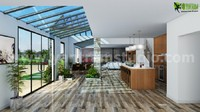 3D Interior Living and Kitchen Room View
