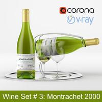 White wine set #3: Montrachet 2000 bottle, glass, tray, wine holder \ stand (high poly models)