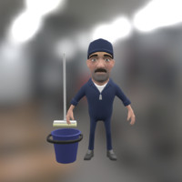 Janitor cartoon character with bucket and mop