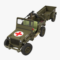 Willys Jeep MB 44 with Trailer Ambulance Rigged