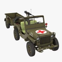 Willys Jeep MB 44 with Trailer Ambulance