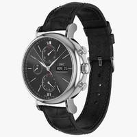 IWC Portofino Chronograph Closed Black Leather Strap