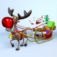 Santa, Sleigh and Reindeer Rudolph