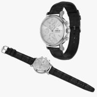IWC Portofino Chronograph Open and Closed Black Leather Strap