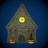 Witch House with Halloween Pumpkin