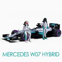3d model mercedes w07 hybrid