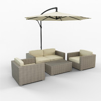 Bohman  Set  Seating Group with Cushions and Umbrela