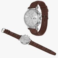 IWC Portofino Chronograph Open and Closed Brown Leather Strap