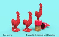 Roosters low poly for 3d printing. 4 variants