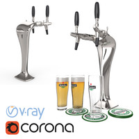 High Poly 3d model of Beer Tap Cobra with Heineken beerglass ready for Bar, Pub, Cafe or Restaurant scene (Vray and Corona render)