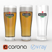 High Poly Beer Glass Heineken (Vray and Corona render)
