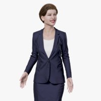 rigged female business suit 3d model