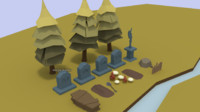 Low Poly Cemetery