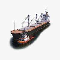 Bulk Carrier and Tugboat