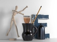 Wooden Mannequin,Brushes in Pitcher and Bottle